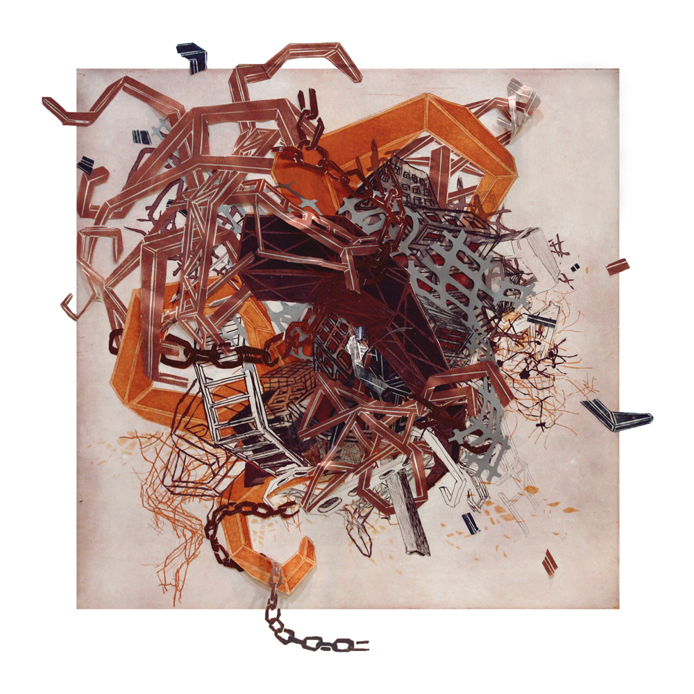 """Urban Transformation #2  2009; Etching, lithography, woodcut on mylar and paper, collage; 30"""" x 30"""" (Hand-cut variable edges); Published by Tandem Press; Edition of 12"""
