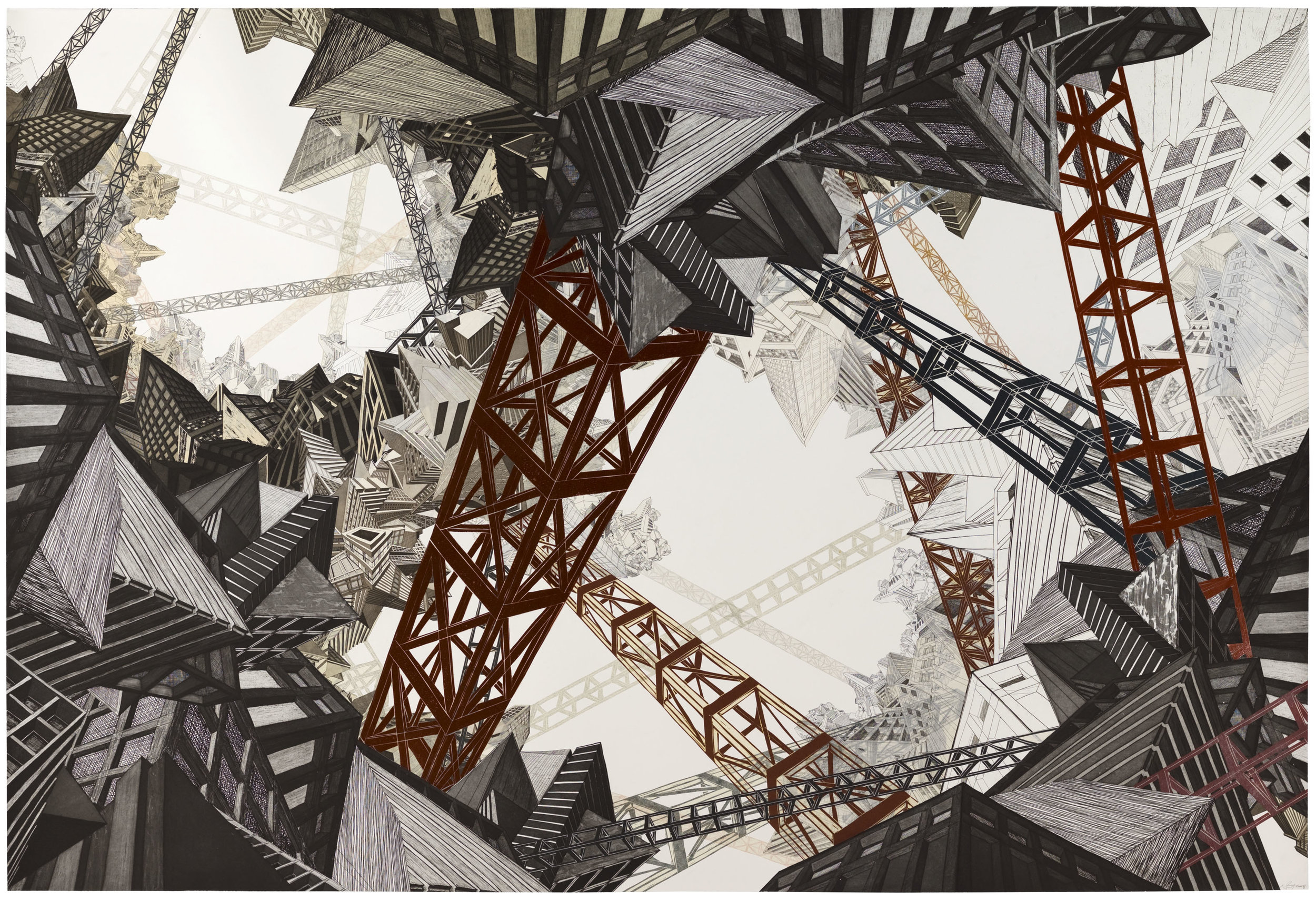 "Scaffold City  2008; Etching, linoleum and collage; 59 9/16"" x 83 5/8""; Published by Pace Editions"