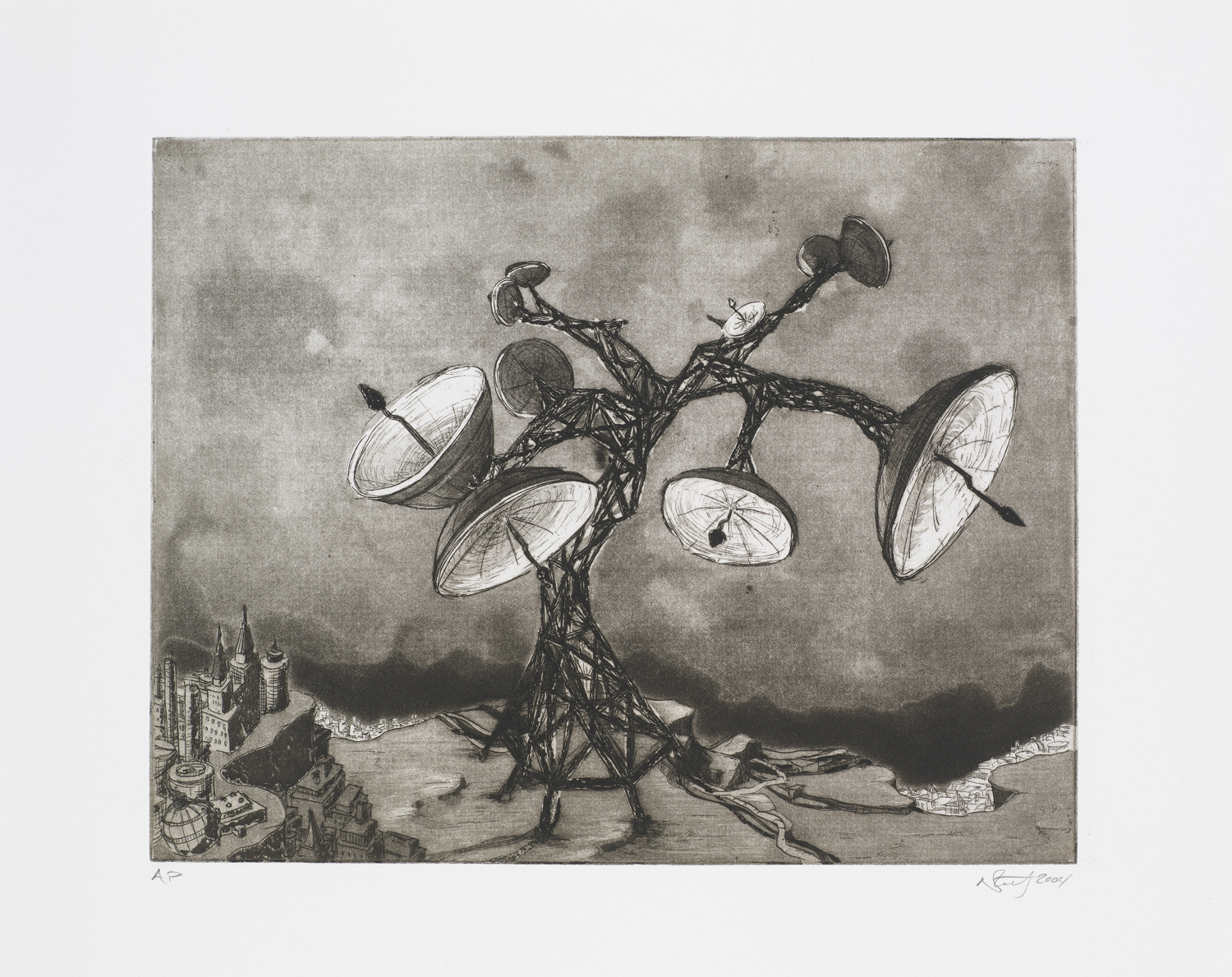 """Monument IV (Satellite Dish Tree)  2004; Intaglio on paper; 14.5"""" x 12""""; Self published; Edition of 12"""