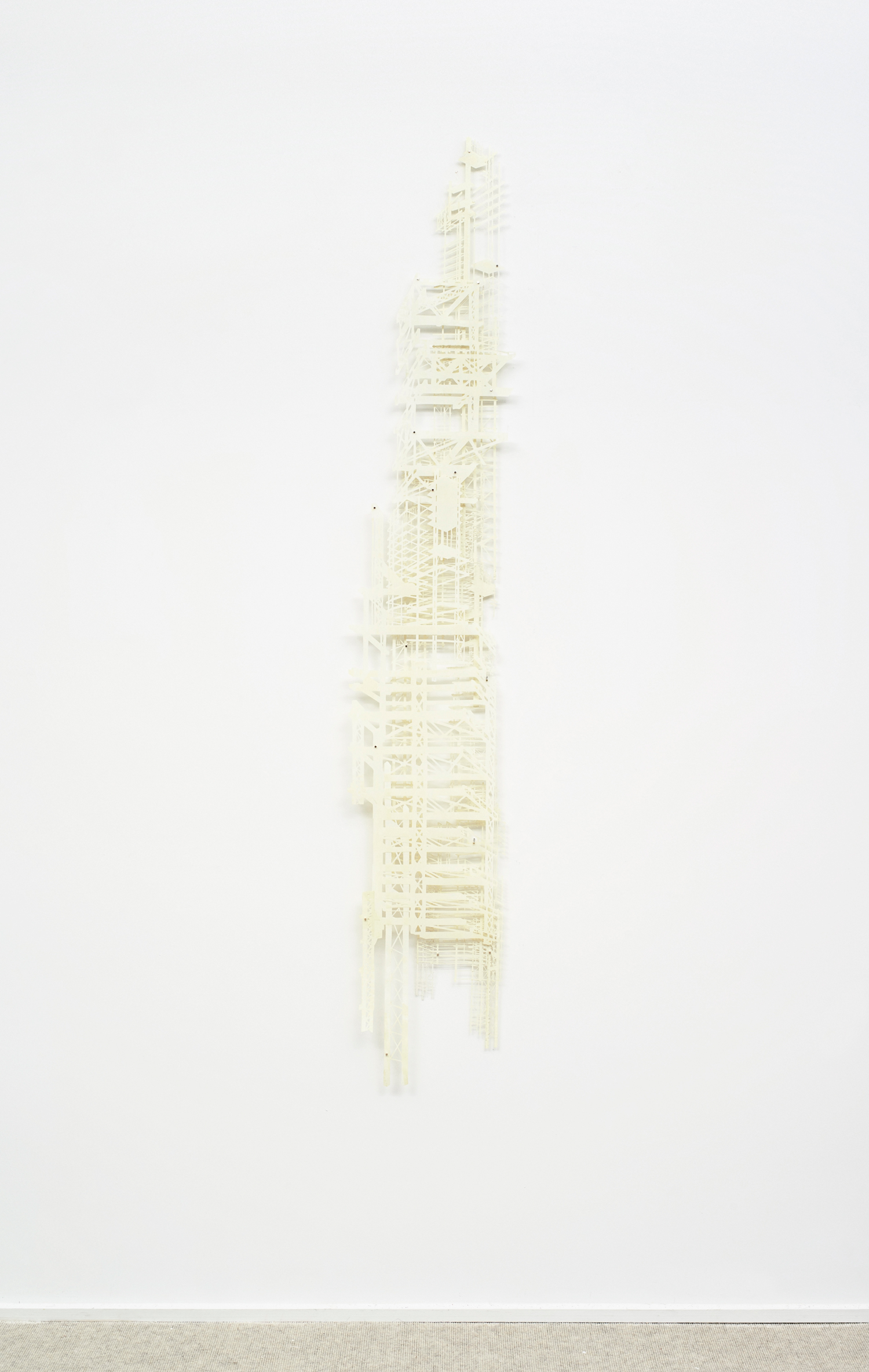 """Bones 2  2013; Linoleum cut and steel-plate monotype on laser-cut mylar, collage; 67 1/2"""" x 11""""; Published by Pace Editions"""
