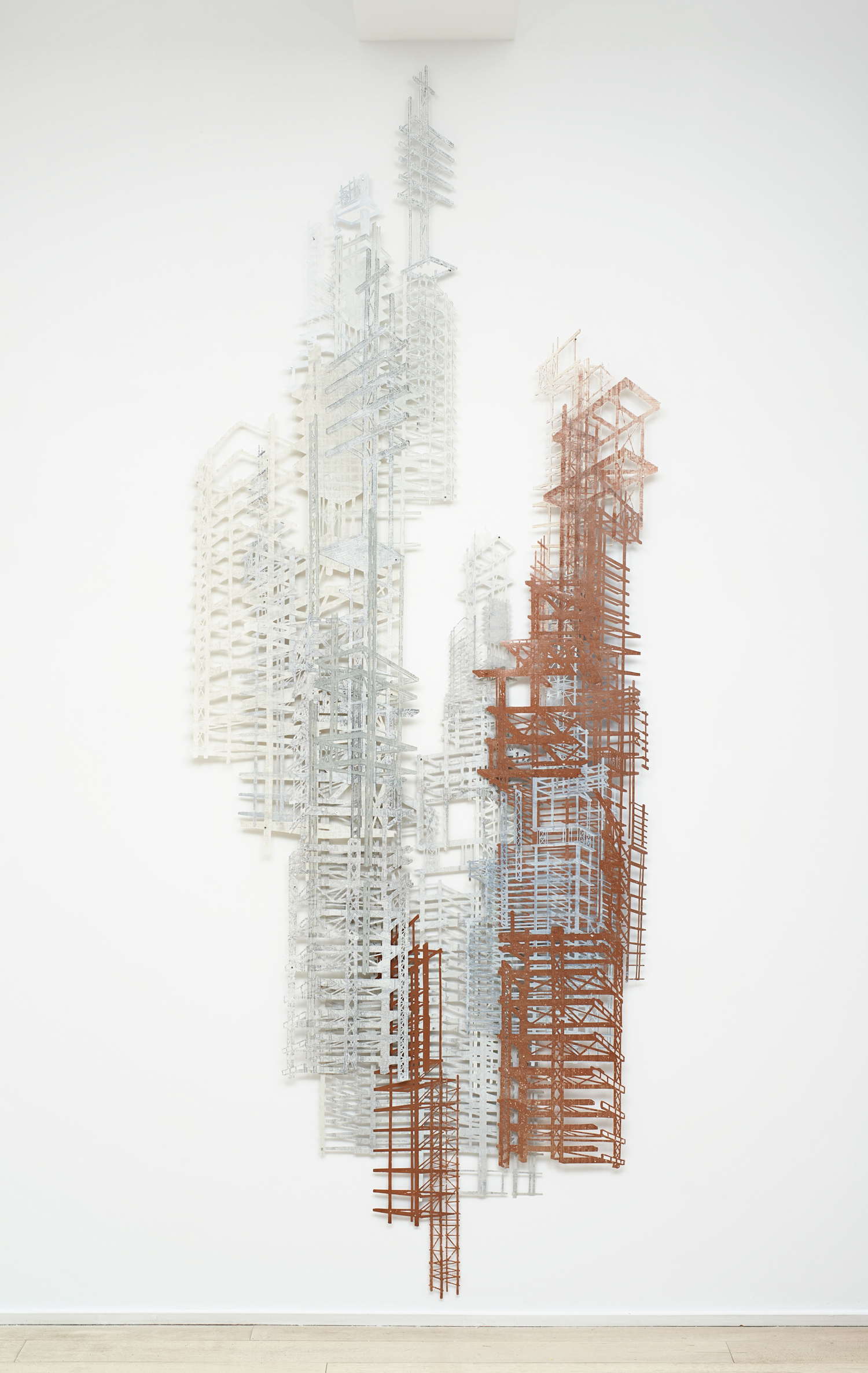"""Bones 5  2013; Linoleum cut and steel-plate monotype on laser-cut mylar, collage; 105"""" x 39""""; Published by Pace Editions"""