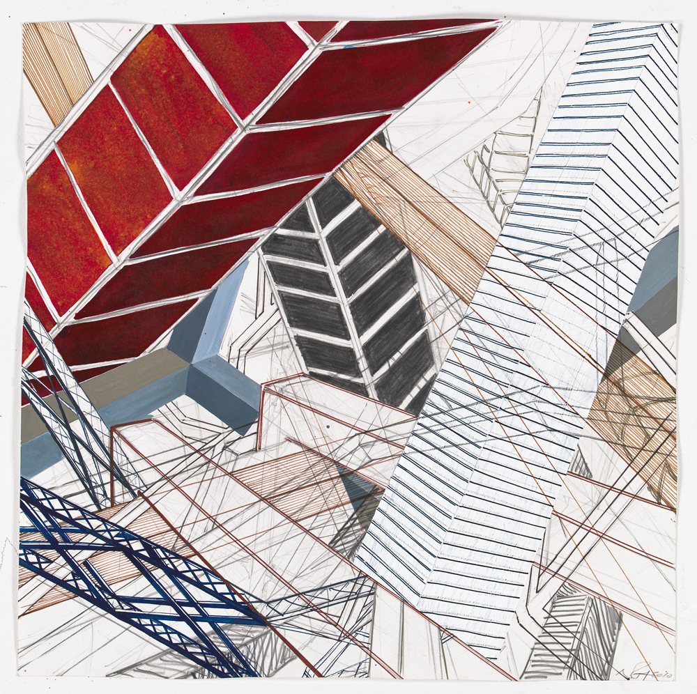 """Bits of Aftermath 3   2011; Graphite, ink and gouache on paper; 22"""" x 22"""""""