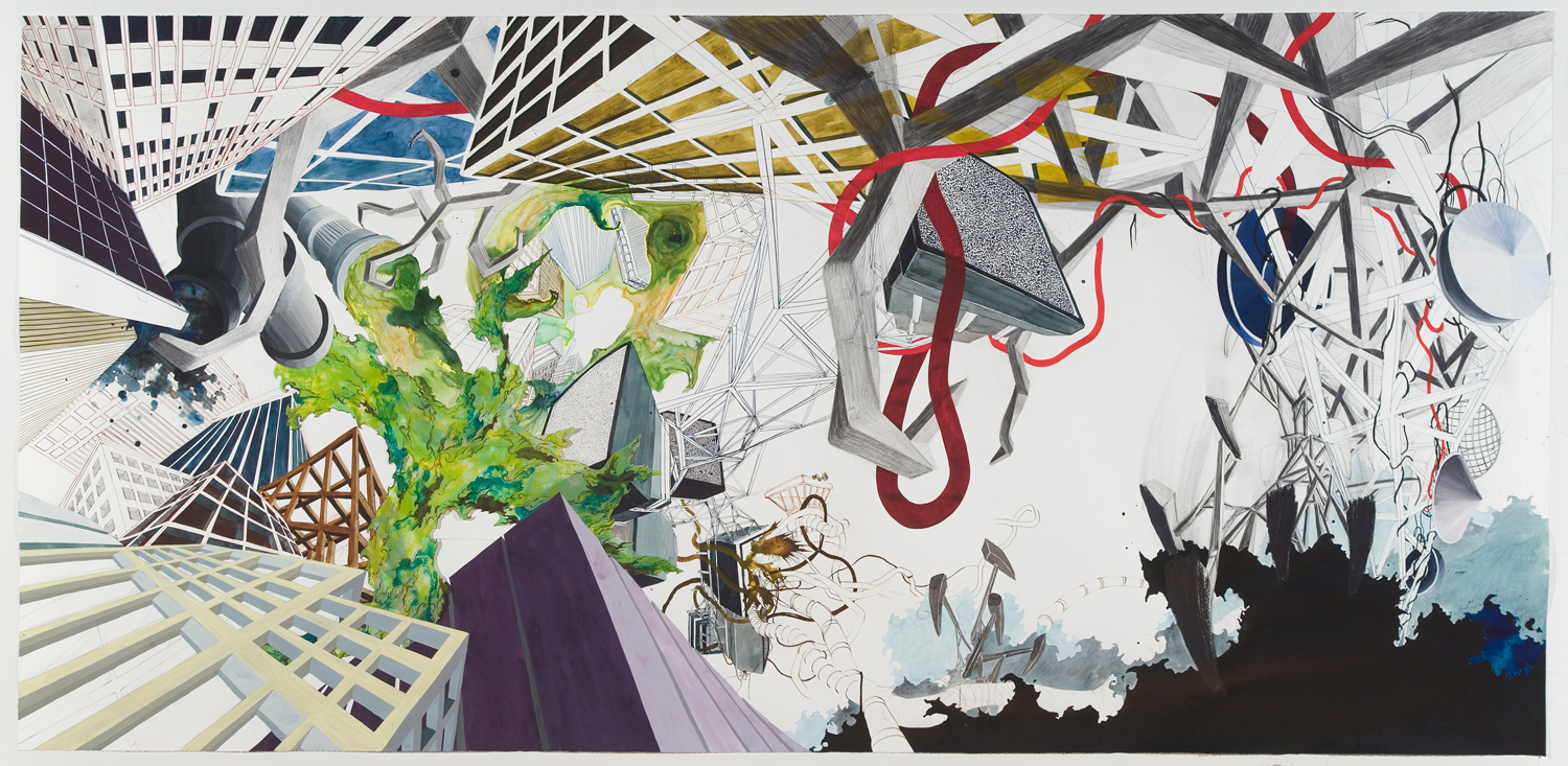 "A Land of Plenty  2007; Ink, watercolor, graphite and gouache on paper with collaged lithography on mylar; 45"" x 93.5"""