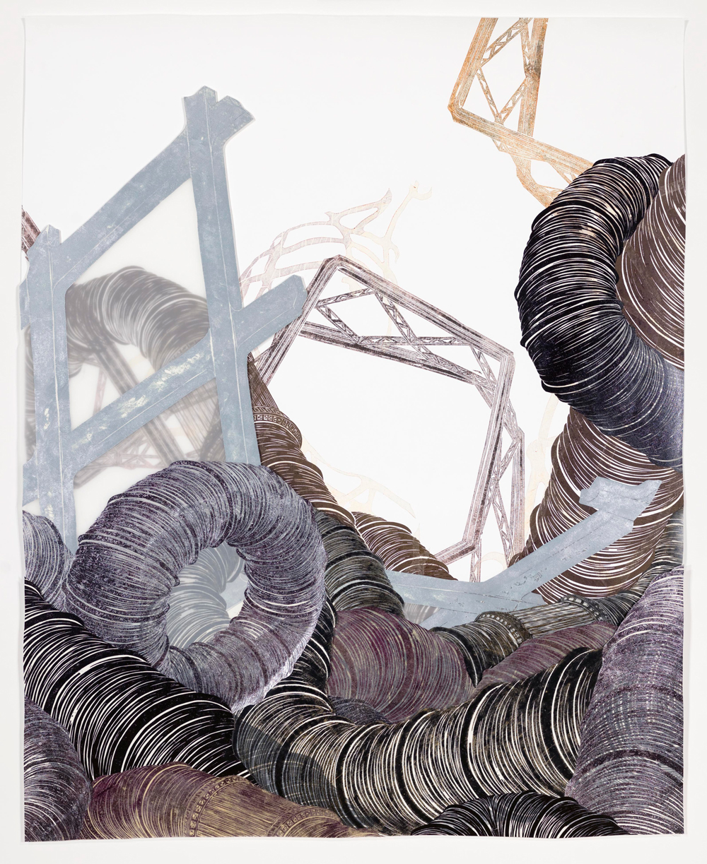 """Structural Detour 12: Detritus emerges from a writhing pile of Big Tubes  2011; Woodcut on paper and mylar, foamcore, collage; 47"""" x 58 1/2""""; Published by Pace Editions"""