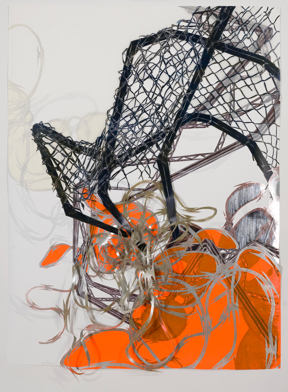 """Structural Detour 19: Chain-link Claw grapples with rowdy Razor Wire  2011; Woodcut on paper, mylar, plastic and reflective mylar, collage; 48"""" x 64""""; Published by Pace Editions"""