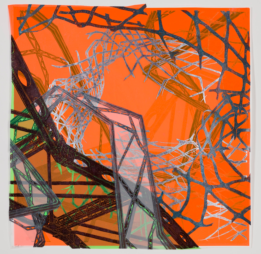 """Structural Detour 13: Fence and Bridges suspended in Electric Orange  2011; Woodcut on paper, mylar and plastic, collage; 50 1/4"""" x 50 1/2""""; Published by Pace Editions"""