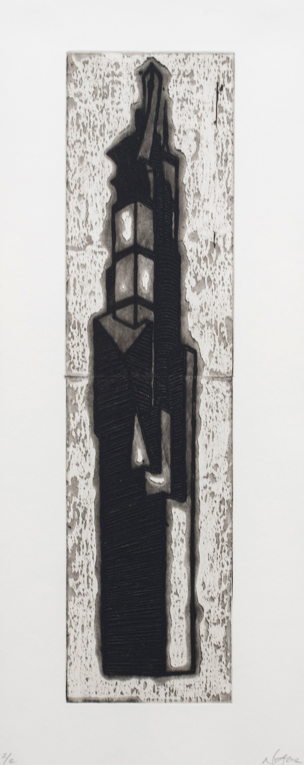 """Ideal Structures for a Dubious Future (Tallest Tower)  2012; Explosive intaglio on paper; 27 1/2"""" x 11""""; Self published; Edition of 12"""