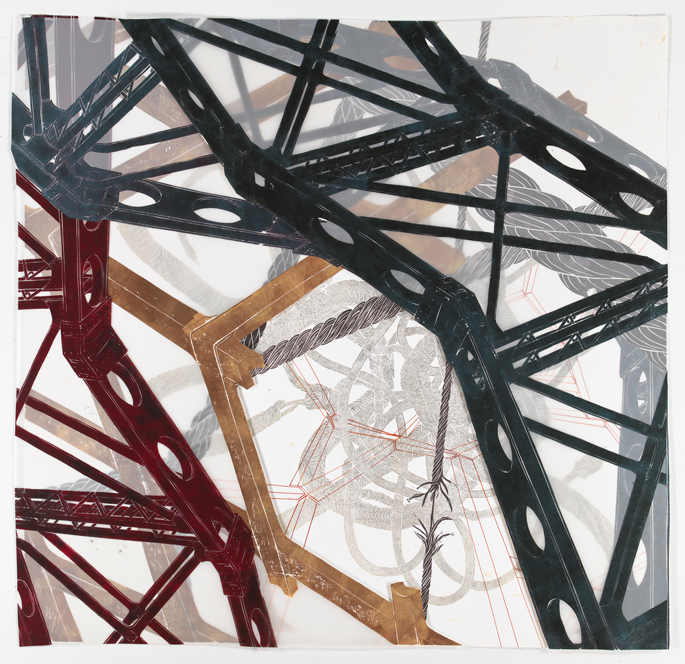 """Structural Detour 10: The Knot huddles under Big Bridges and Ropes  2011; Woodcut on paper and mylar, ink, foamcore and collage; 48 1/2"""" x 50"""""""