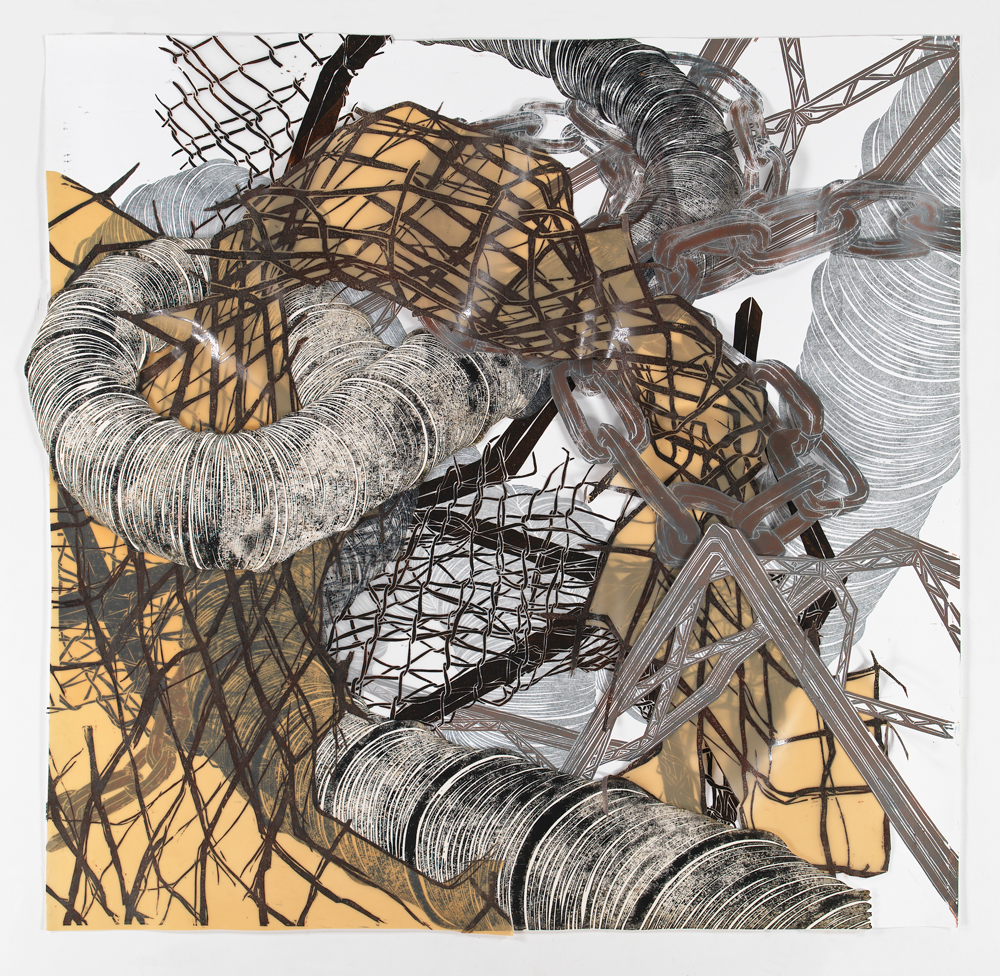"""Structural Detour 9: Big Tubes and Chains embrace the Latex Fence  2011; Woodcut on paper, mylar and latex, foamcore, collage; 47 1/2"""" x 50"""""""