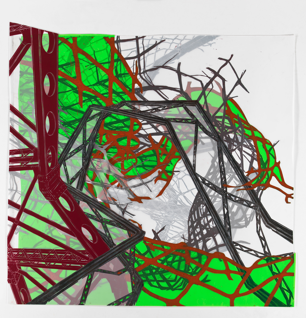 """Structural Detour 7: Bridges edge into electric green Danger Fence vortex  2011; Woodcut on paper, mylar and plastic, collage; 49 3/4"""" x 50"""""""