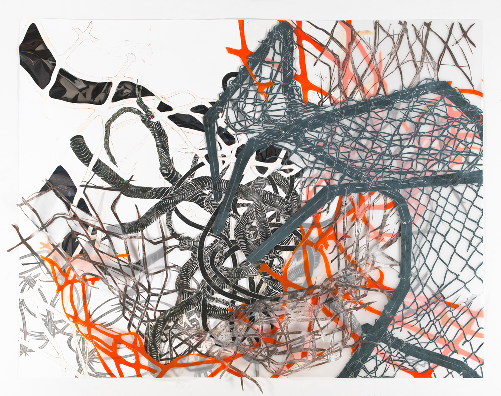 """Structural Detour 6: Chain-link Claw grasps the Knot buried in Fences  2011; Woodcut on paper, mylar and reflective mylar, foamcore, collage; 48"""" x 61 1/2"""""""