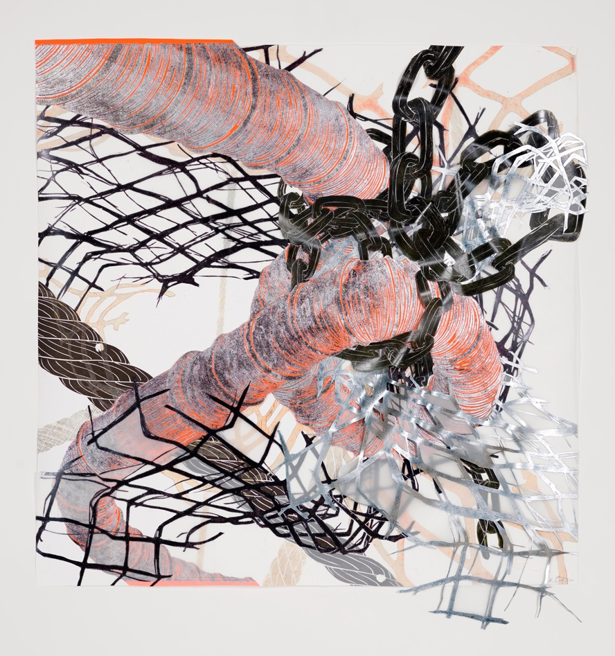 """Structural Detour 14: Big Tube, Fence and Chain all squeeze  2011; Woodcut on paper, mylar and plastic, foamcore, collage; 47 1/2"""" x 48""""; Published by Pace Editions"""