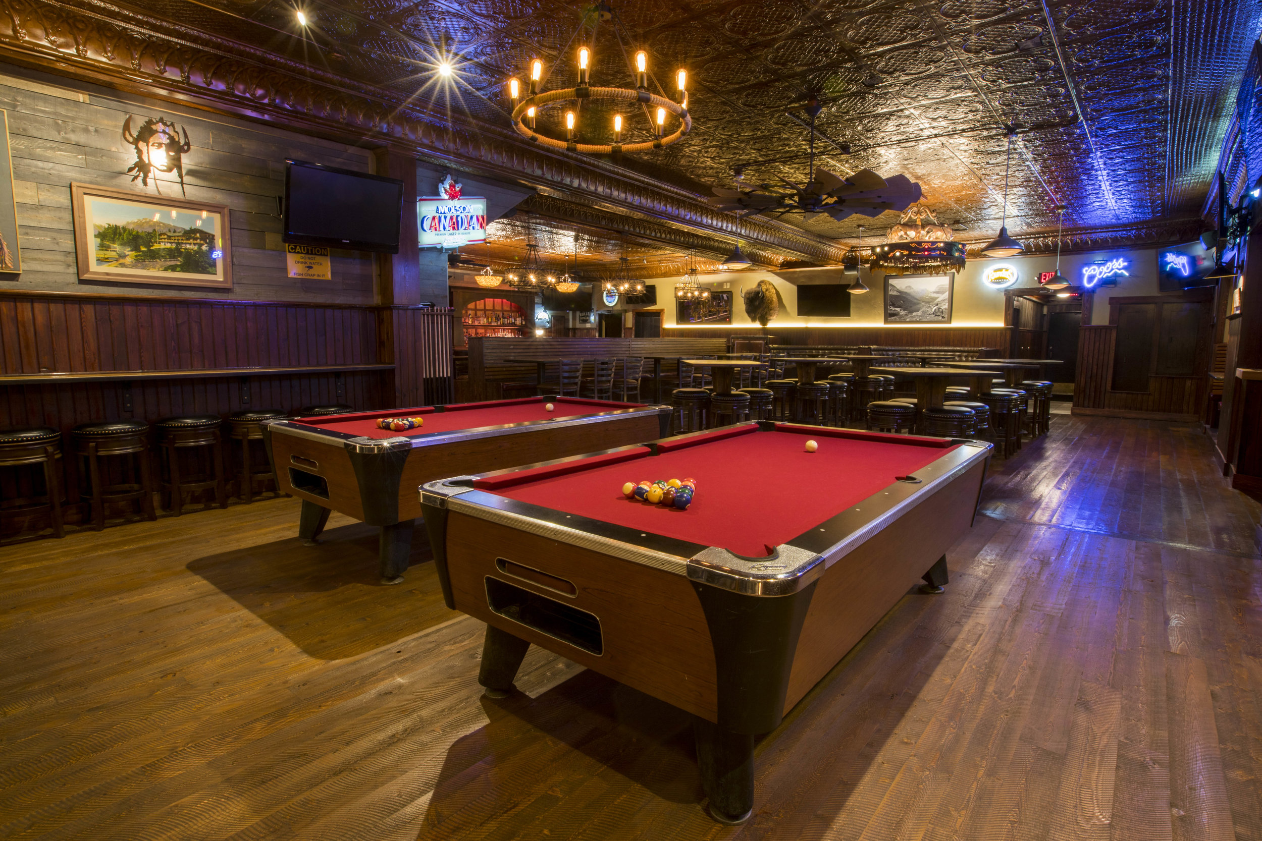 Pool & Casino - Featuring two pool tables and a remodeled casino with 15 machines, Gunsight Saloon is the most comfortable gaming area in Columbia Falls.