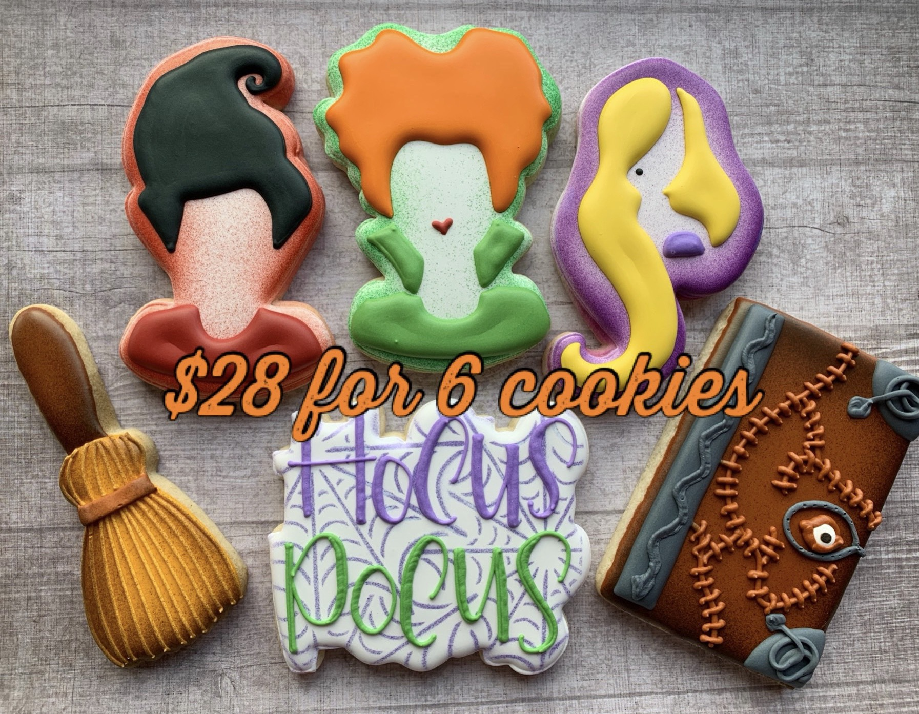 6 assorted Halloween cookies for $28