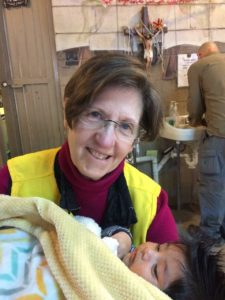 Volunteer Billie Greenwood cared for a very tiny migrant on the Northern Mexico border with the U.S. as one of her duties at the migrant assistance center.