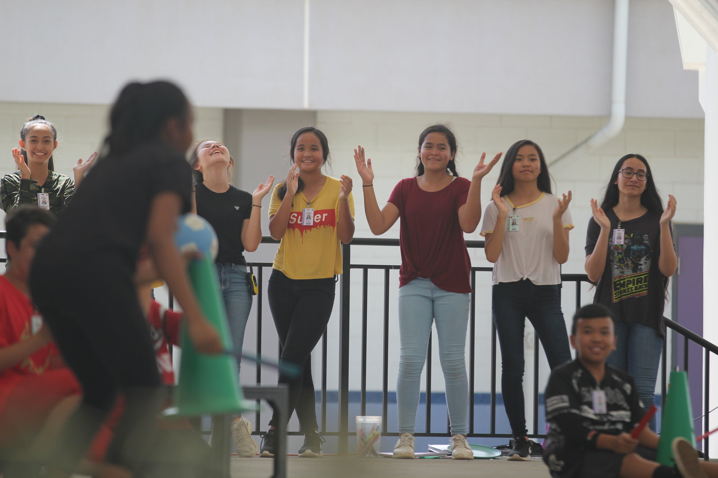 A group of Ewa Makai students in Leadership having fun at their annual Cheer Off.