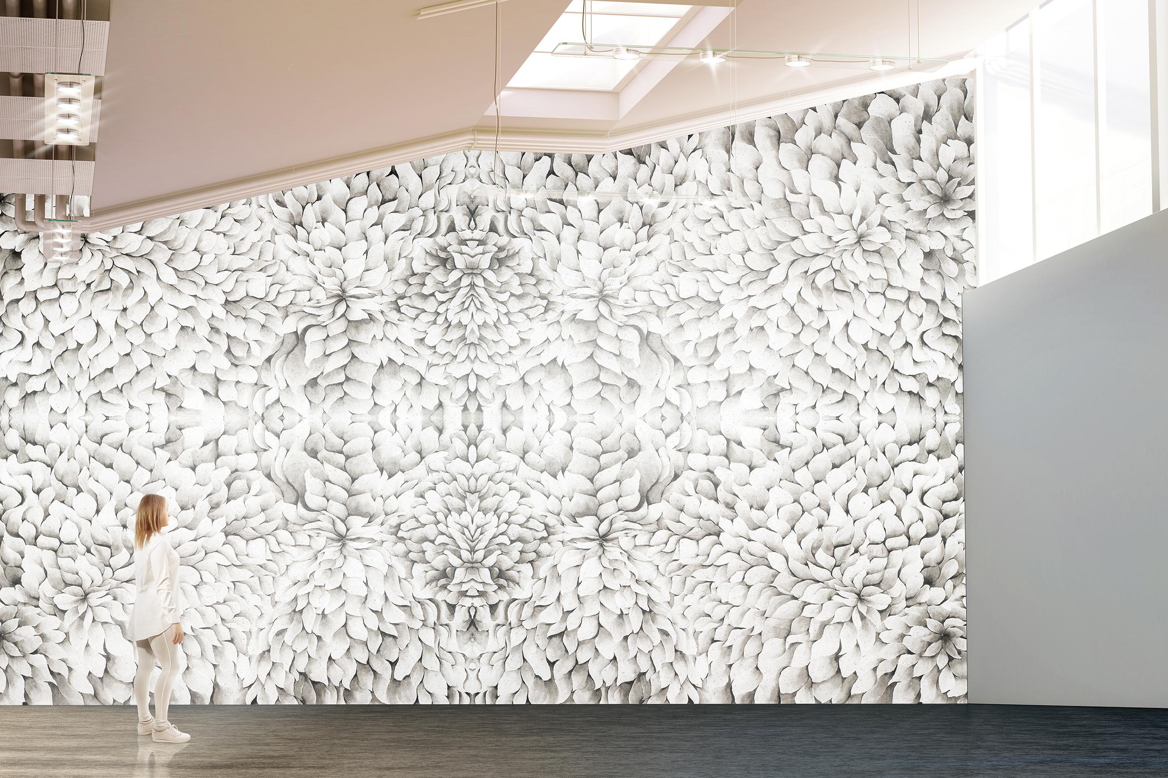 Black and White Chrysanthemum Wall Paper