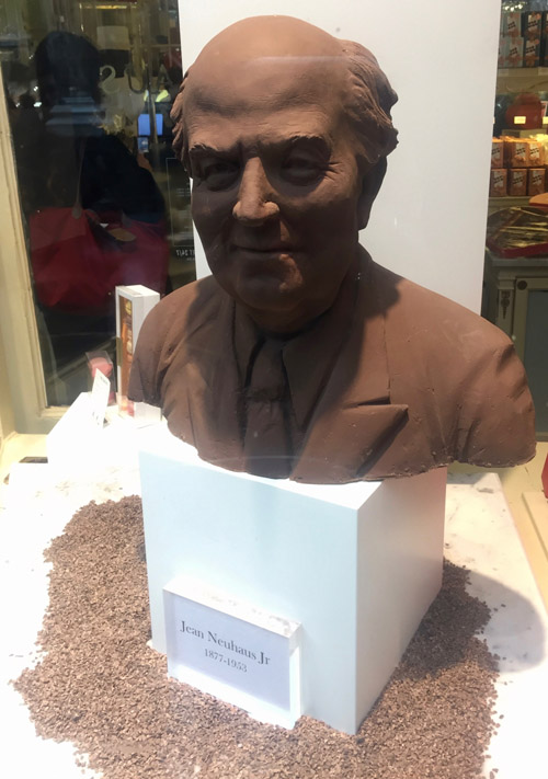 Sculpture of the creator of delicious Belgian praline, made out of what else but praline!