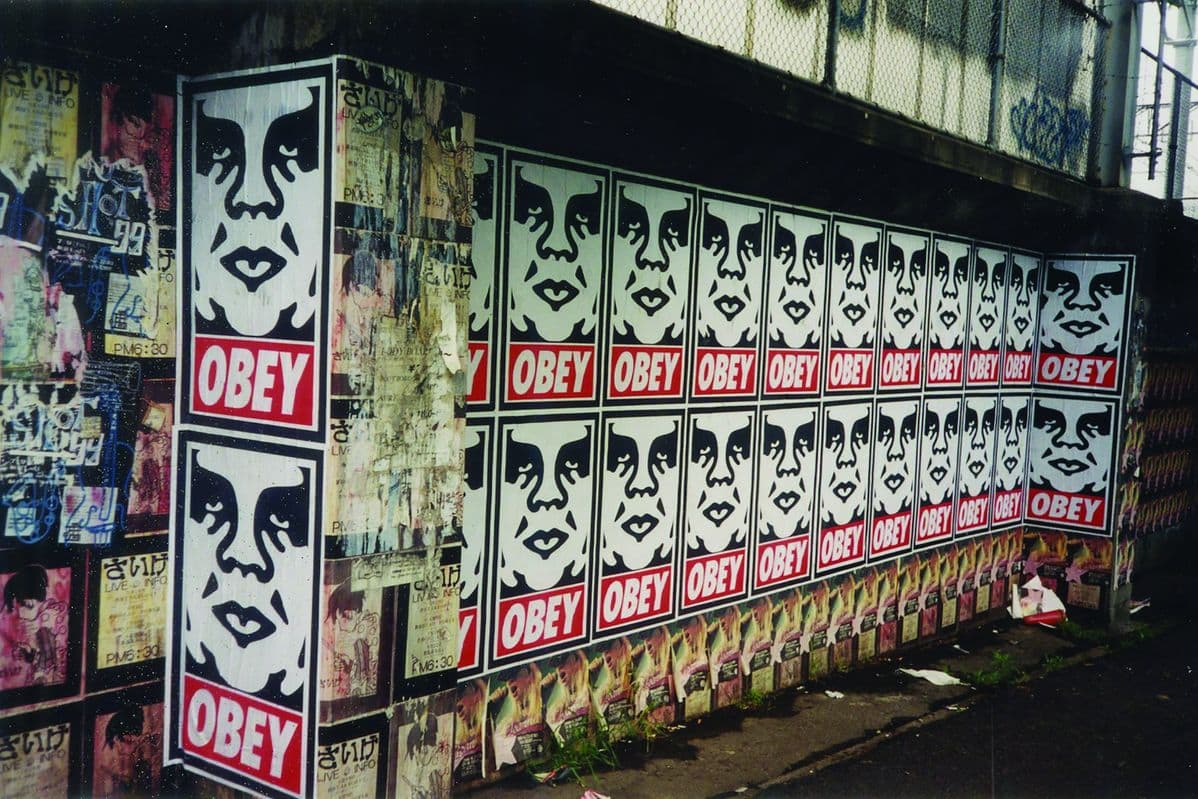 A wall of OBEY's Andre the Giant.
