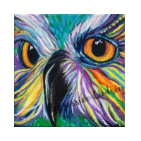 "Sir Awareness, Affirming Owl series, Acrylic, 6""x6"" gallery (self-standing) canvas, $130, Prints Available for $50"