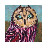 "Ms Balanced, Affirming Owl series, Acrylic, 6""x6"" gallery (self-standing) canvas, $120, ORIGINAL AVAILABLE & Prints Available for $50"