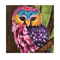 "Miss Connectivity, Affirming Owl series, Acrylic, 12""x12"" Framable Matted Canvas Print Available $50"