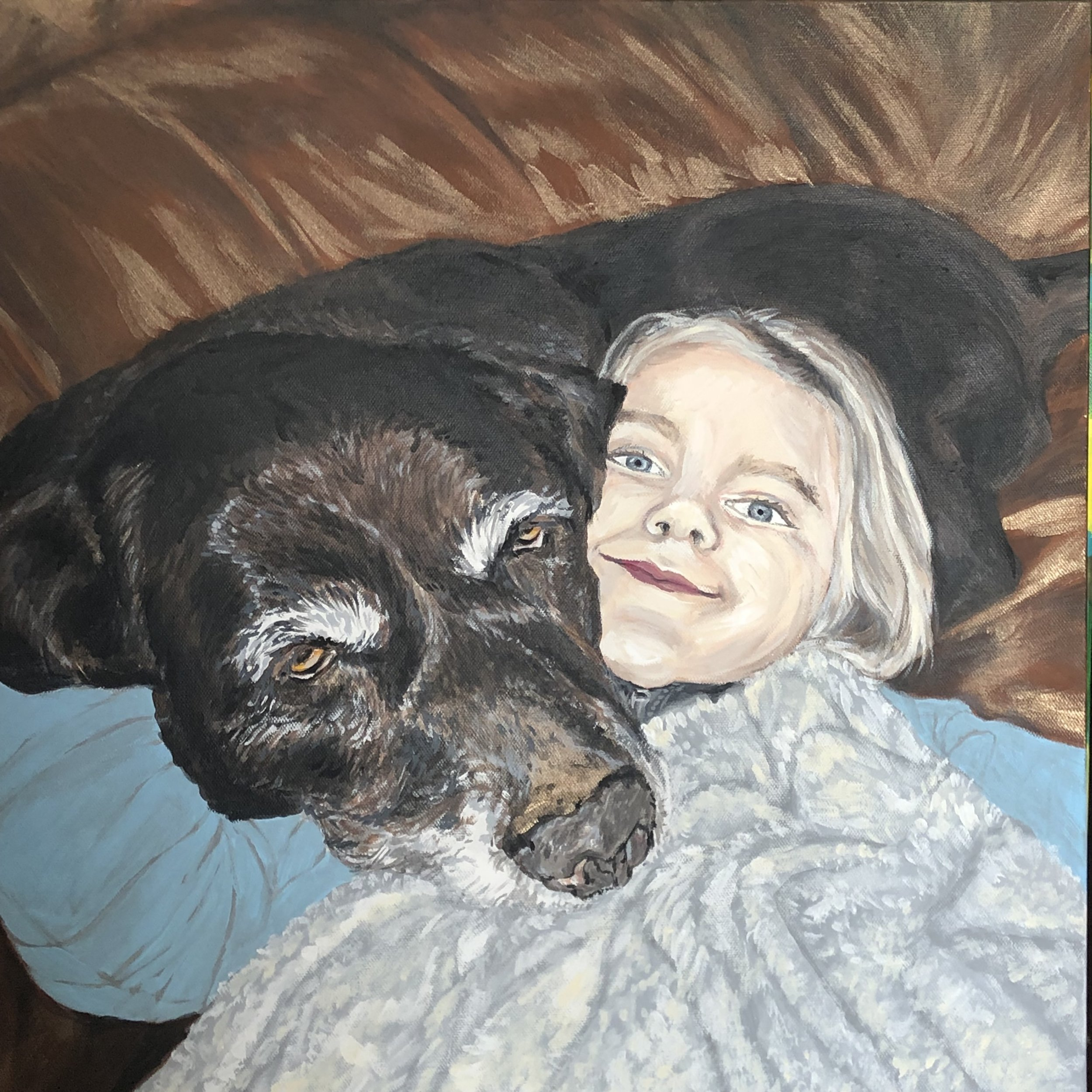 Portrait Dog &G Girl Painting.JPG
