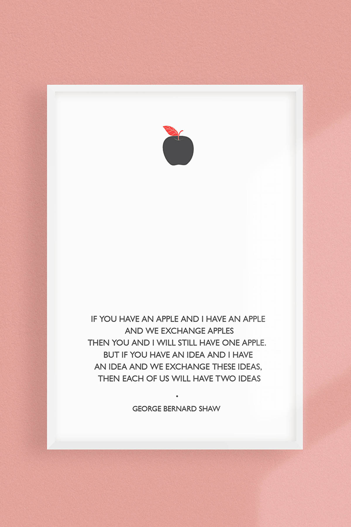 GEORGE BERNARD SHAW APPLE QUOTE PRINT -