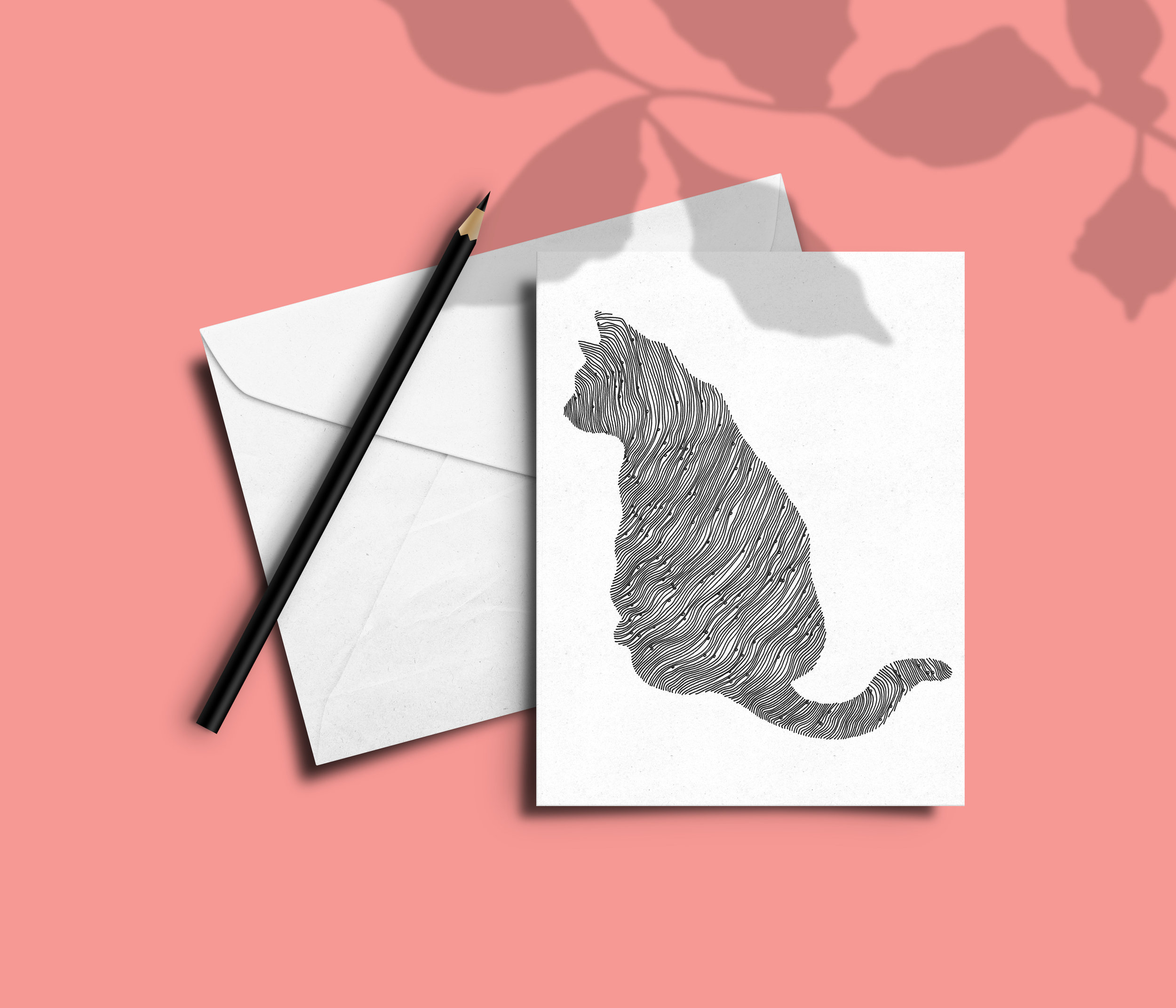 Cat illustrated card -