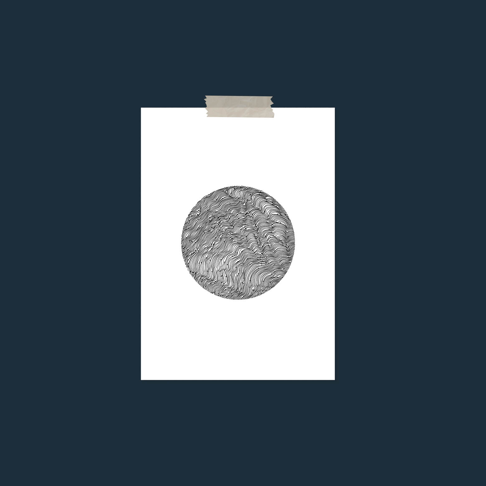 ILLUSTRATED CIRCLE - This large print is A1 in size can make an excellent statement in a modern minimalist home. At first this print appears simple and will reveal complexities as you get up closer.