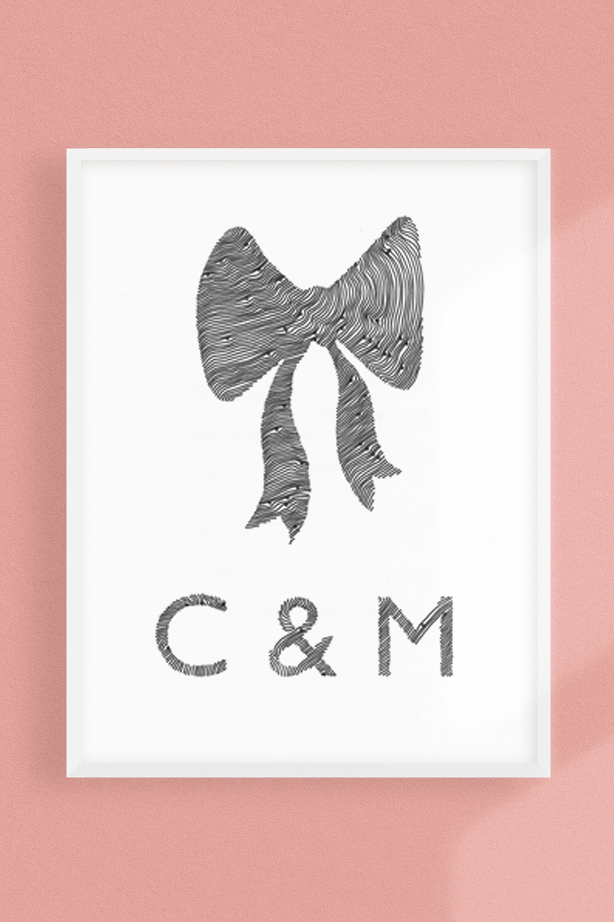 Wedding Bow Custom Initials Personalized PRINT -