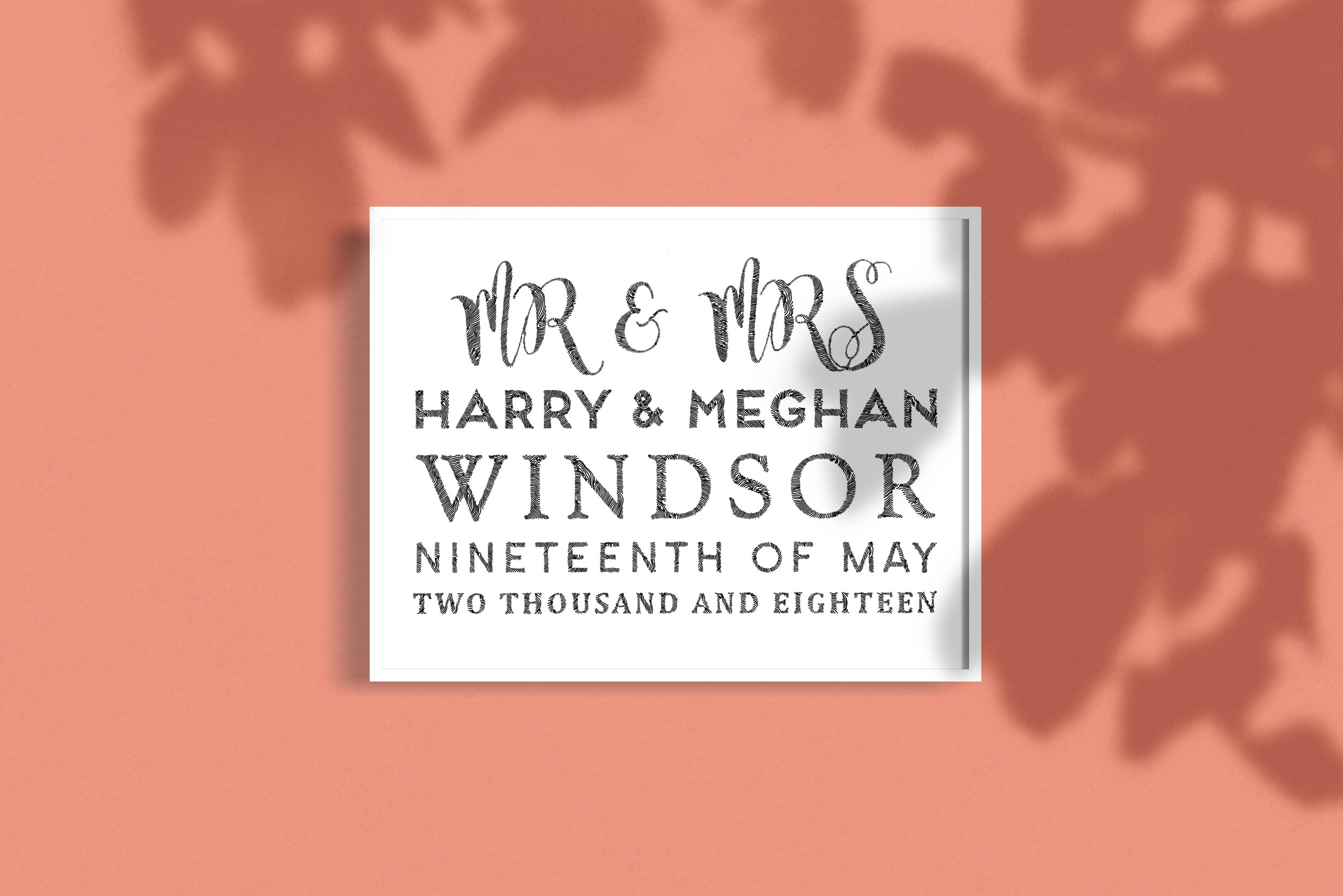 Personalised Illustrated Wedding Gift Example Royal Wedding Harry Meghan