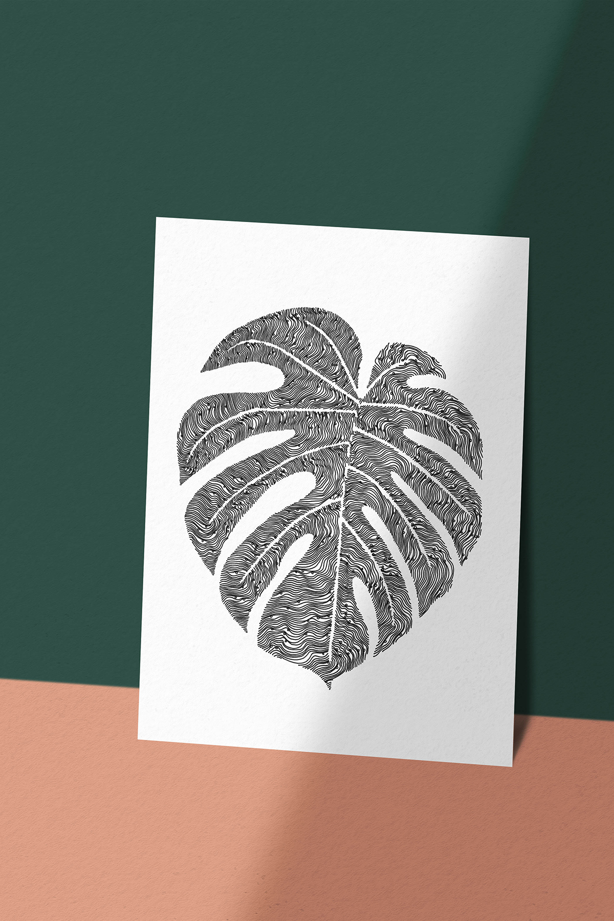 Cheese Plant Monstera Deliciosa Leaf Print -