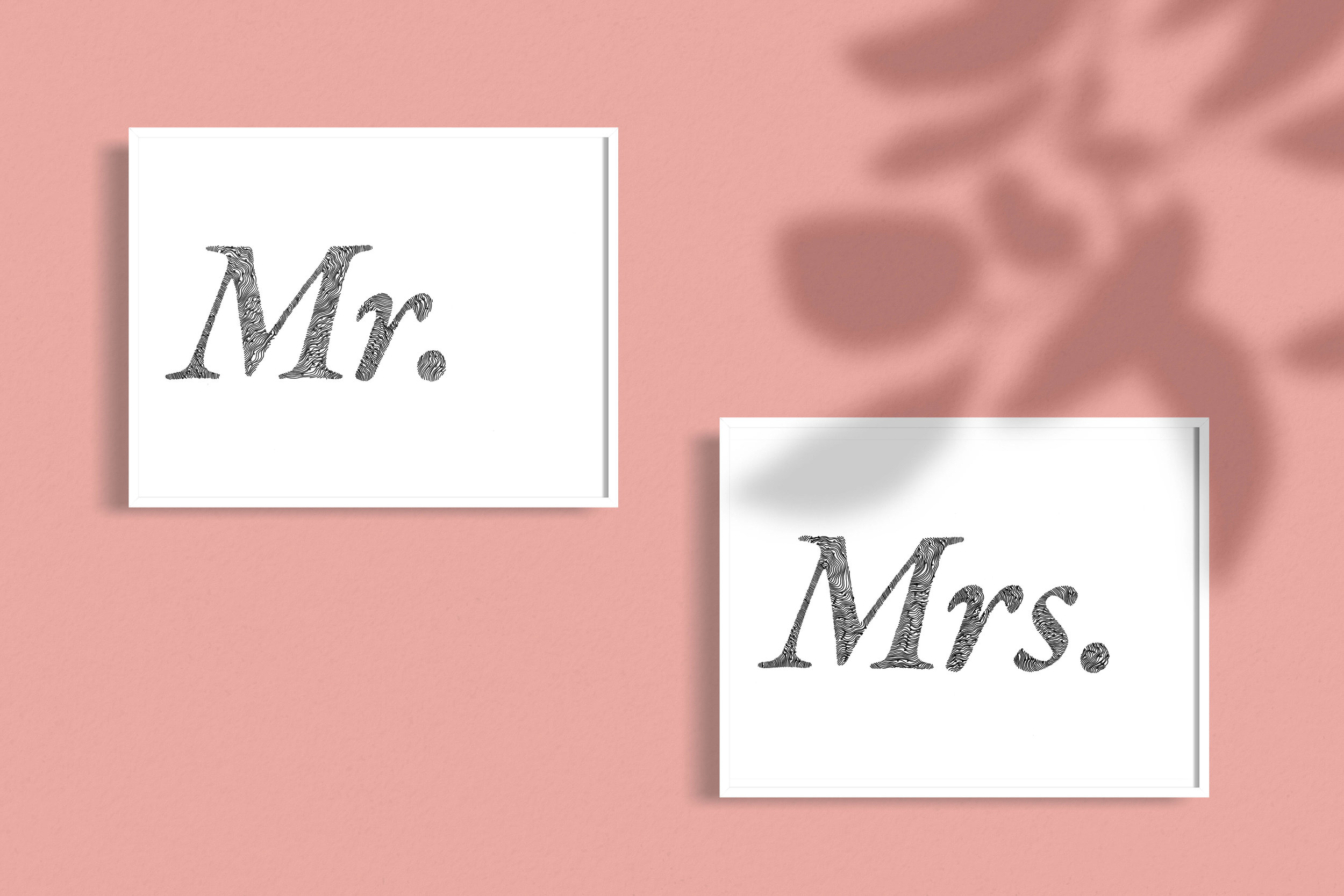 Mr Mrs Wedding Gift Illustrated Typography