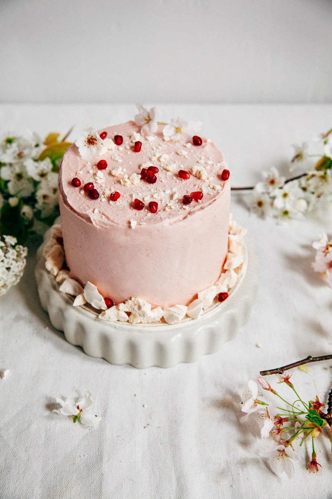 Pomegranate Citrus Meringue Cake