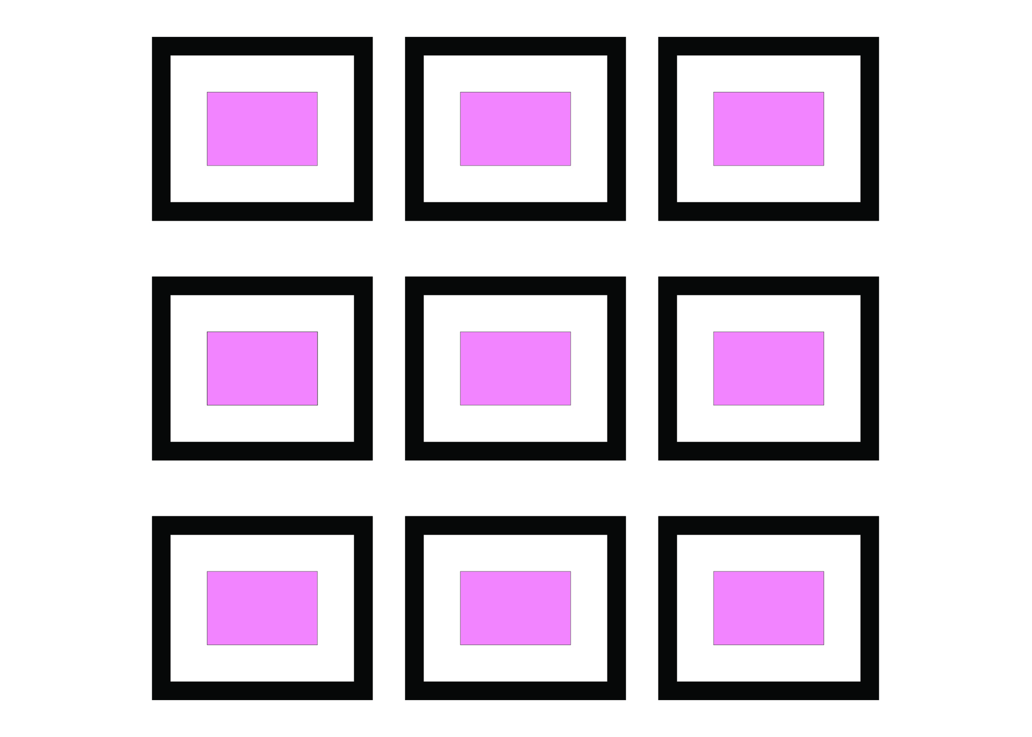 GRID - A very simple gallery wall but very effective. All the same size – all lined up – all in the same frame.