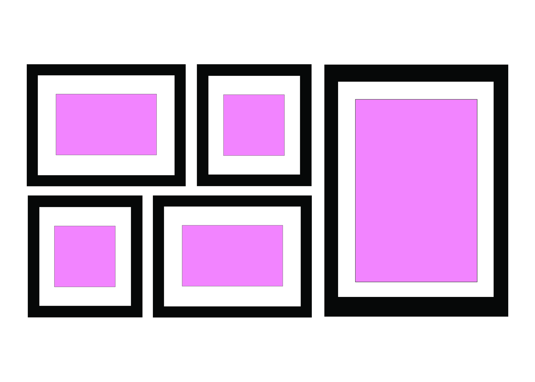 ALIGNED SHAPE - You can use different coloured frames but you can link by having all the images in black and white.