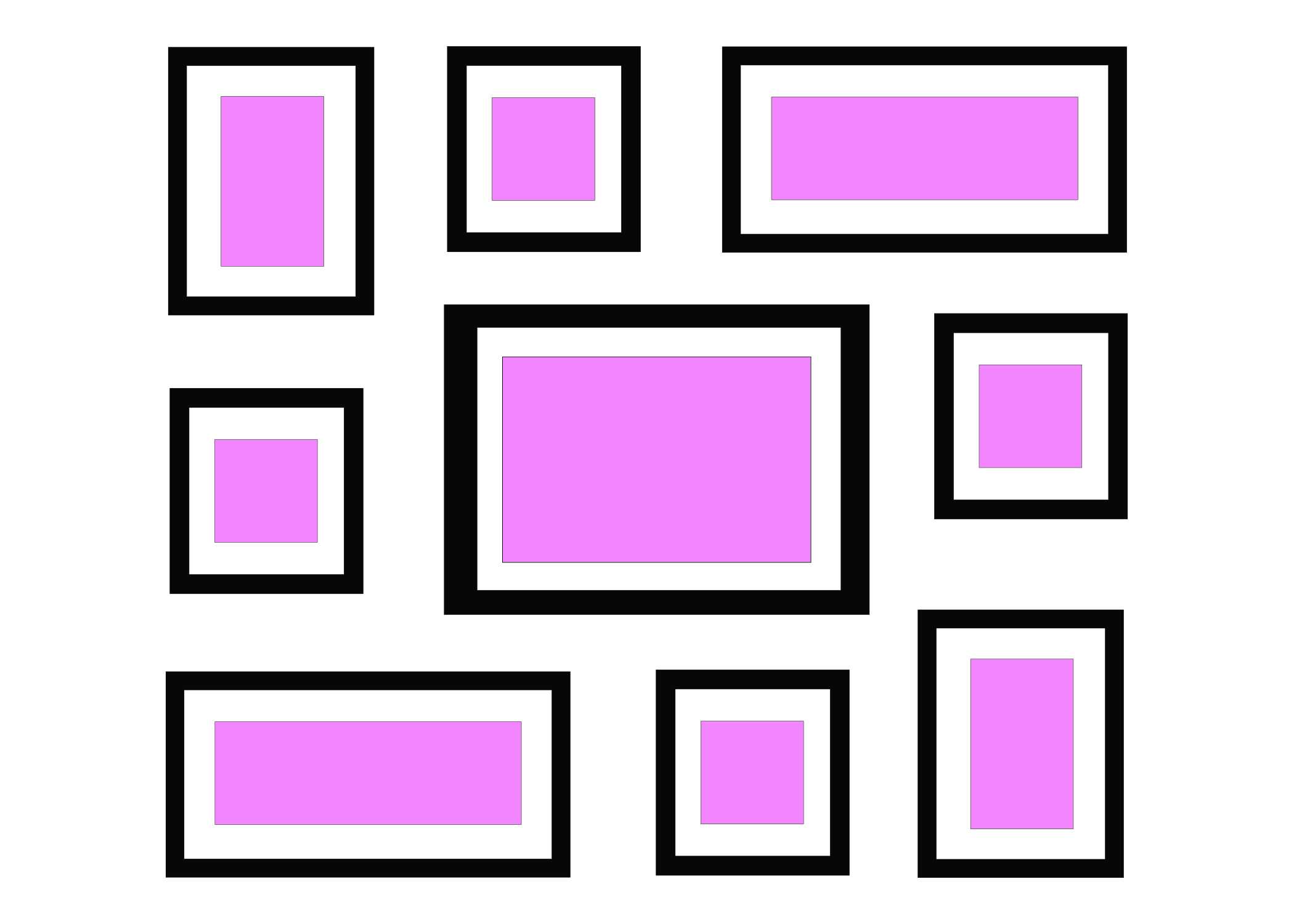 ALIGNED SHAPE – SPIRAL - This is another kind of aligned shape. This is handy if you've got all different sizes and shapes but want to make a neat and orderly wall.