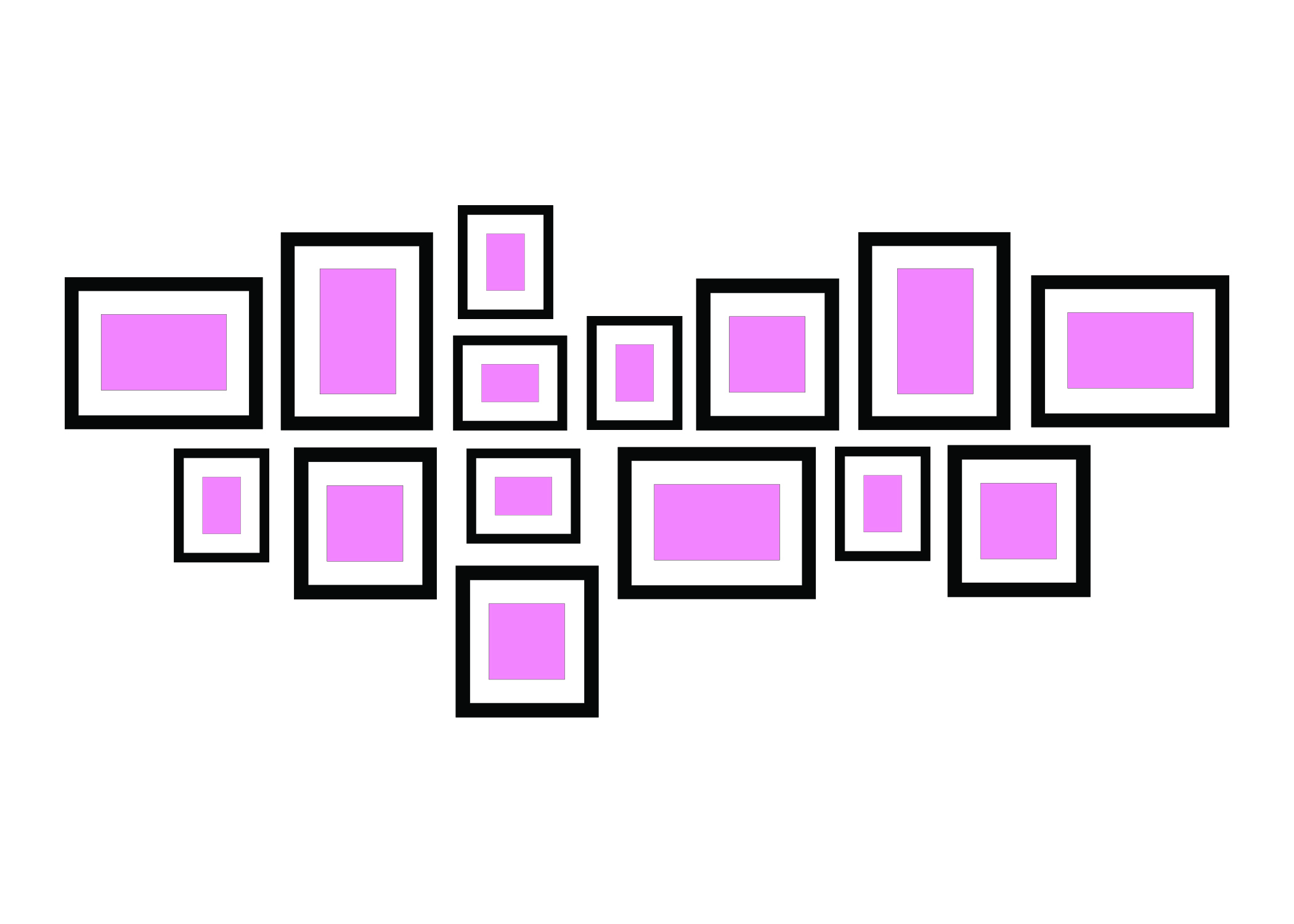 A LINE IN THE MIDDLE - If you have a mix of different sizes and frames then this works to align them – you could link the images by a signature colour that's in each print.