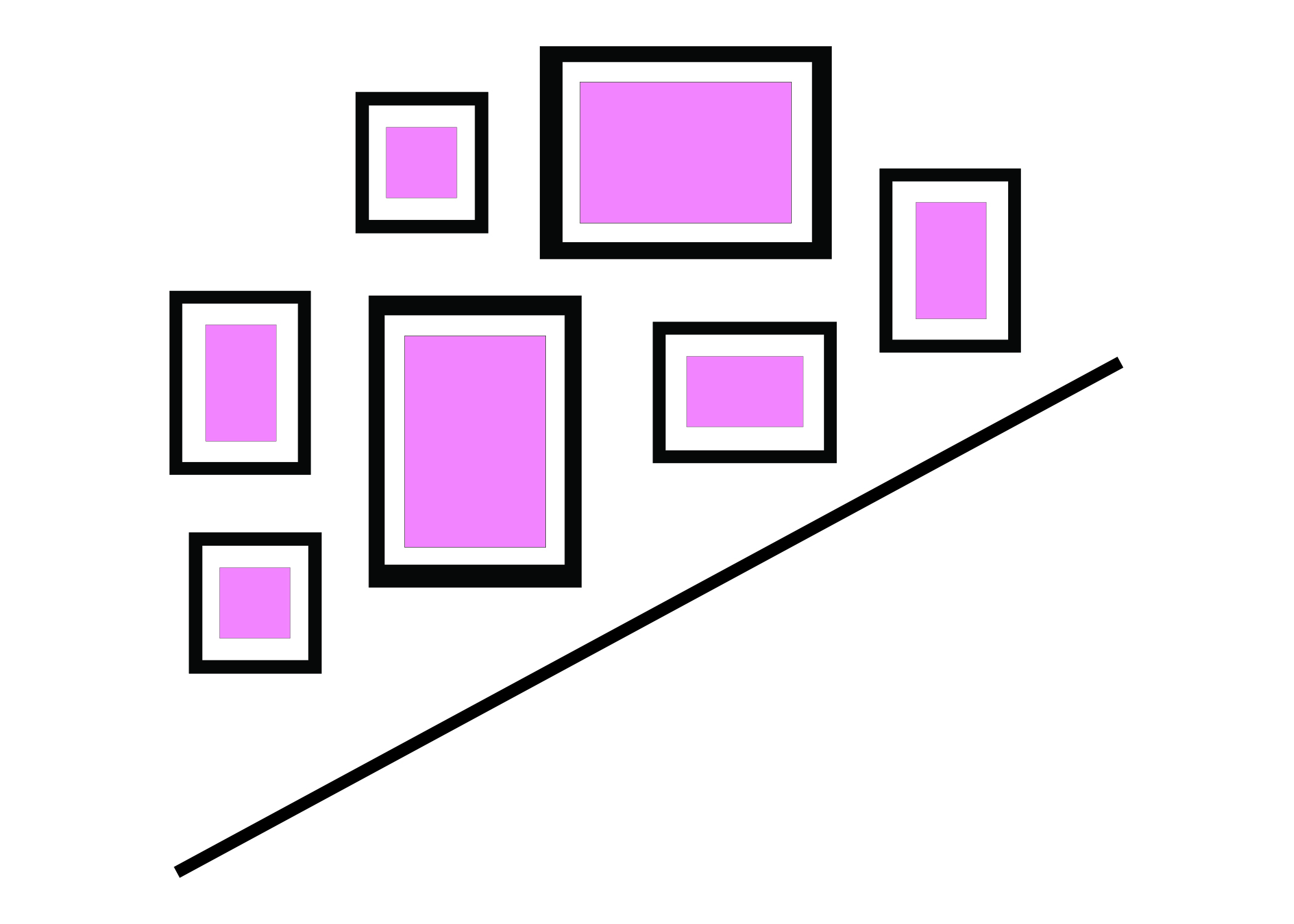 UP THE STAIRCASE - Follow the angle up the stairs. This is a very simple concept – you can use matching frames and sizes of you could use a mix of different sizes and shapes.