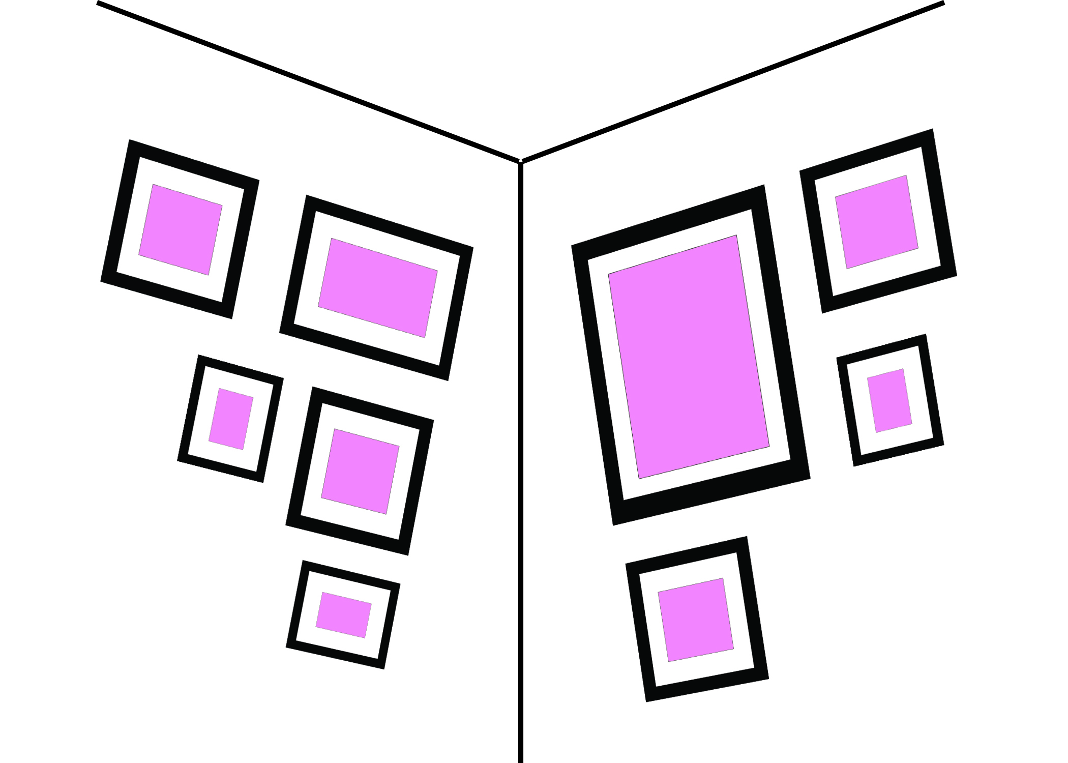 IN THE CORNER - To make this work, keep the two sizes the same distance from the corner. This style is quirky enough that you can use a mix of different style frames and sizes.