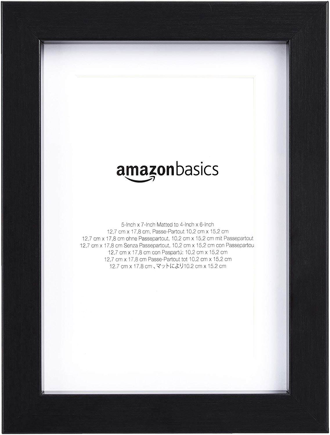 AmazonBasics Photo Frame with Mat - 13 x 18 cm matted to 10 x 15 cm, Black, 2-Pack
