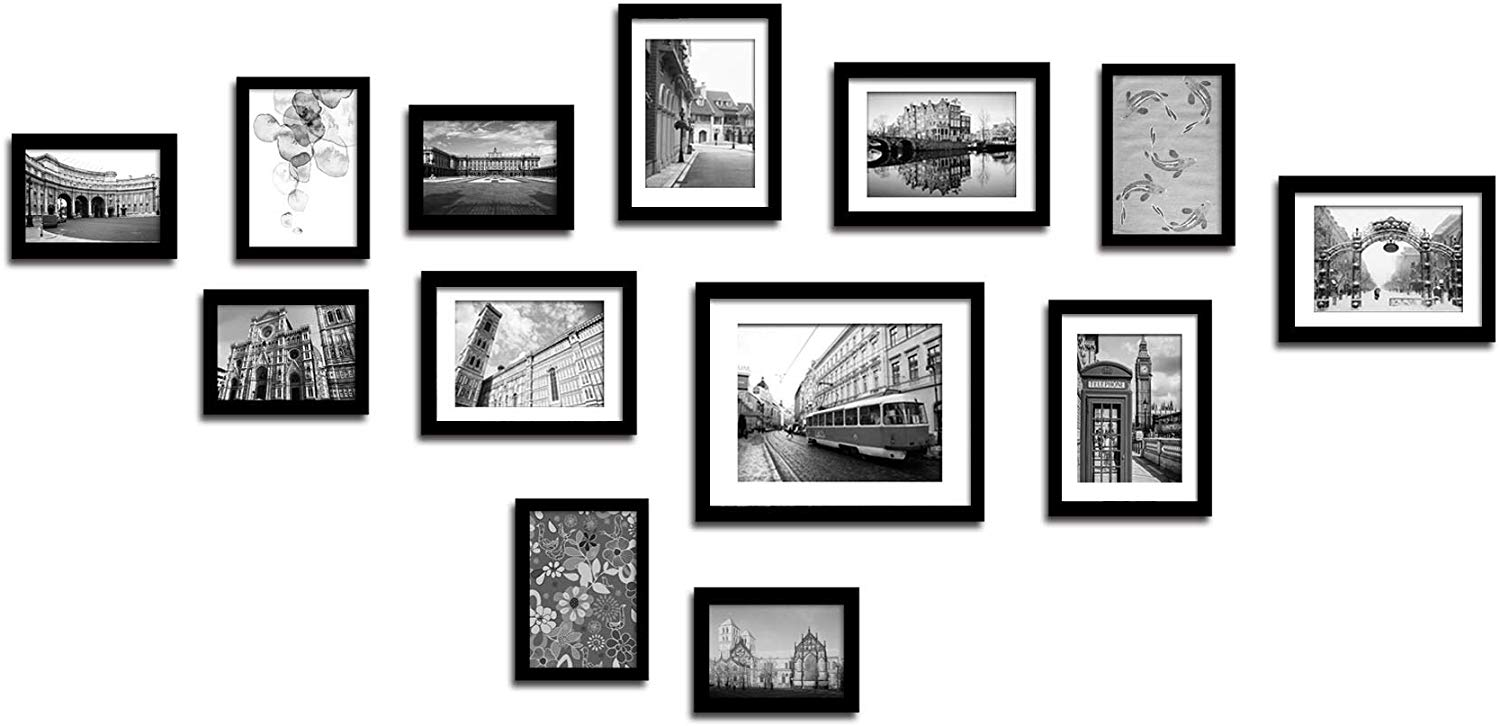 Lillyvale Large Multi Picture Photo Frame Frames Wall Set 13 Pieces (Black)