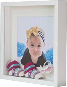 BD ART 23 x 23 cm Box 3D picture frame with mat 13 x 13 cm, white