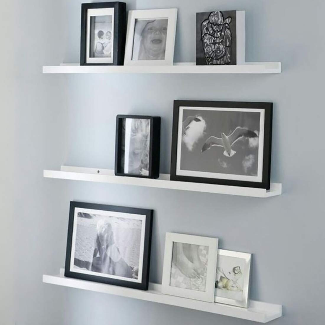 6 Pack White Wooden Lipped MULTI PURPOSE Picture Ledge Wall Shelves