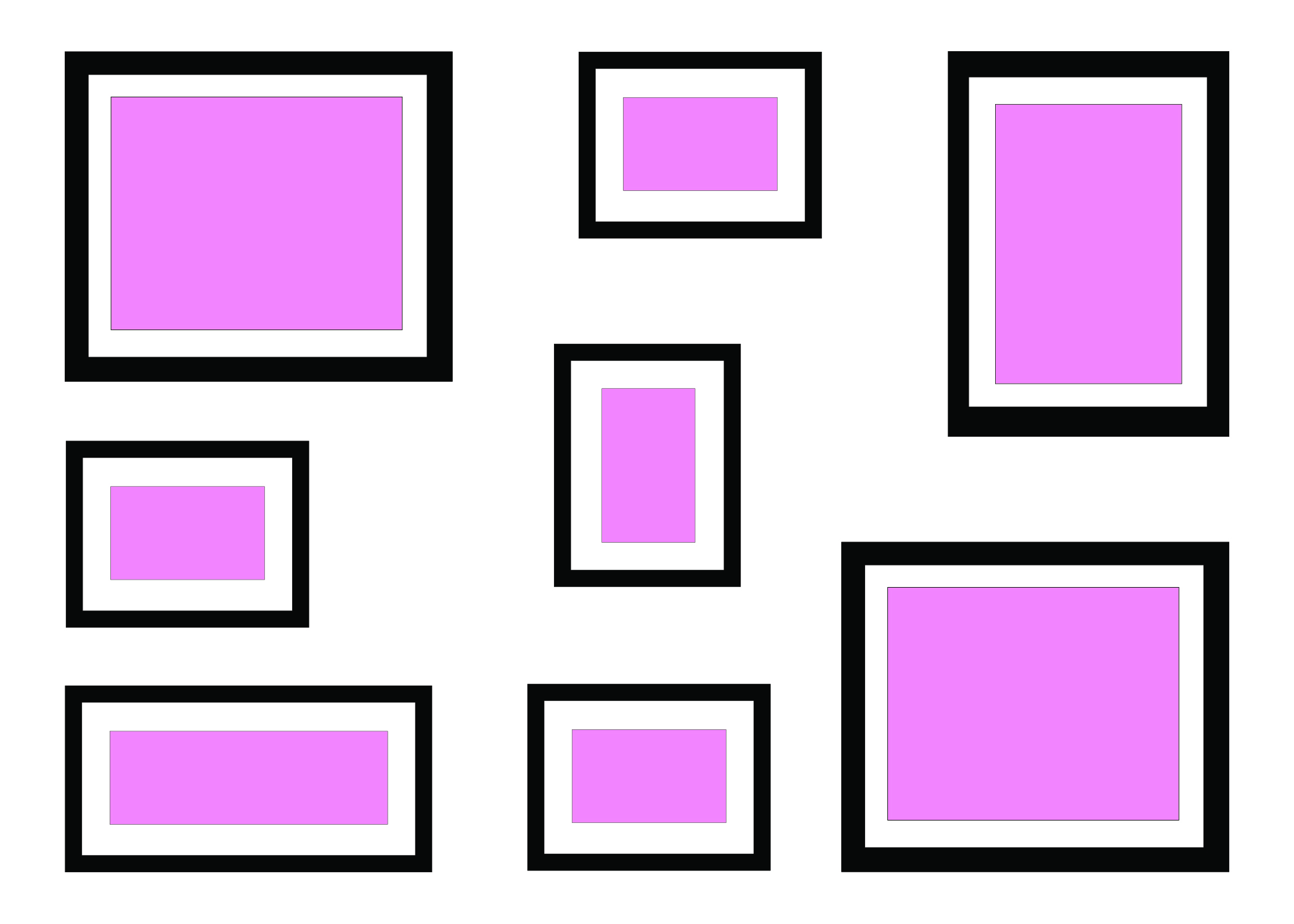 ALIGNED SHAPE – SQUARE OUTLINE - This is another kind of aligned shape. This is handy if you've got all different sizes and shapes but want to make a neat and orderly wall.