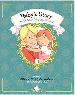 - Ruby's story: An Embryo Adoption Journey by W. Kathryn ClarkA Single Mom by Choice recounts her journey to parenthood via donated embryo to her 5 year old. It's the only book I've seen so far that addresses a solo fertility effort. While I haven't read it, I love the idea and I did quickly flip through at a friend's house! There are a lot of words so would need to be adjusted for a child's age if they're very young. My friend's daughter who's 19 months wants to read it every day right now, so that's a good sign.