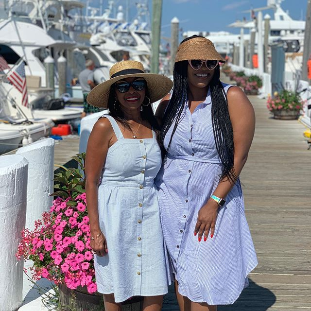 Yacht vibes with my little mom We're here on Block Island today 🌴