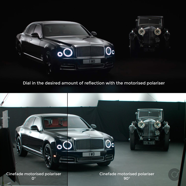 Cinefade Motorised Polariser Bentley windscreen reflection split screen