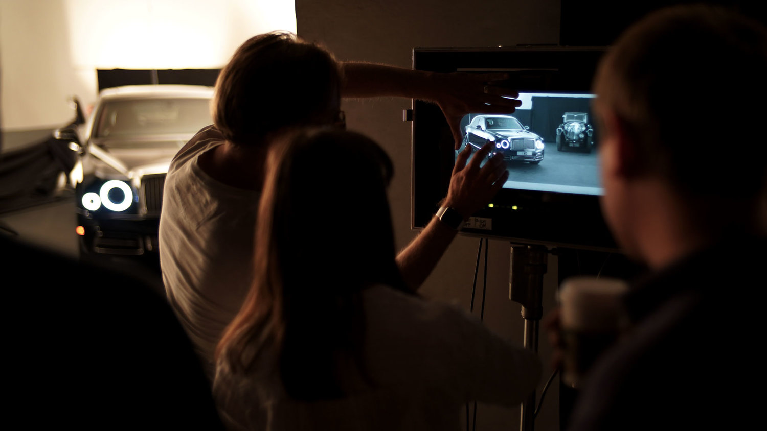 Director Paul Griffin with client Bentley deciding on car reflections with Cinefade Motorised Polariser